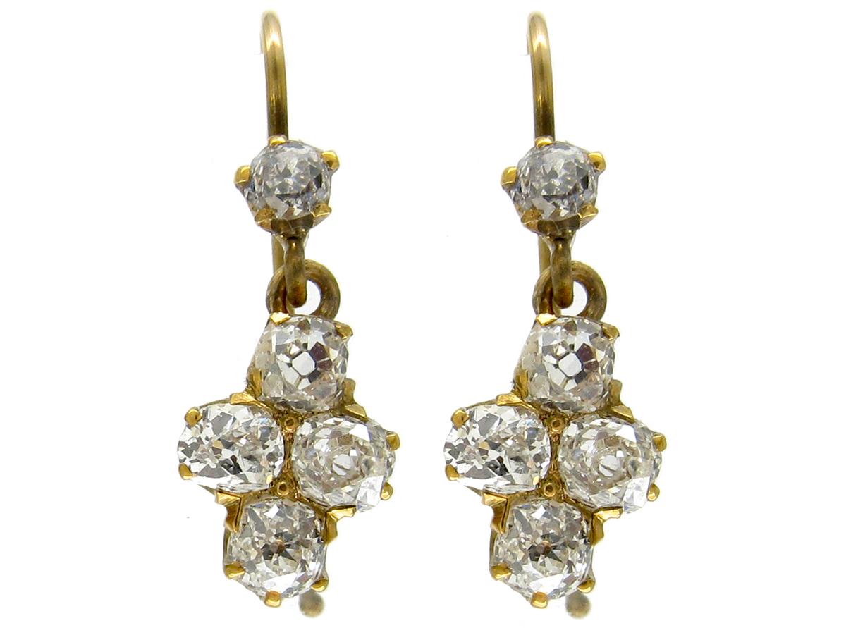 Victorian Diamond 18ct Gold Drop Earrings