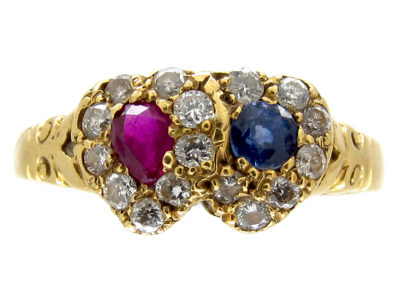 Diamond Ruby & Sapphire Double Heart Ring