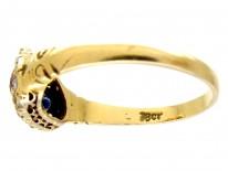 Diamond Ruby & Sapphire Double Heart Ring