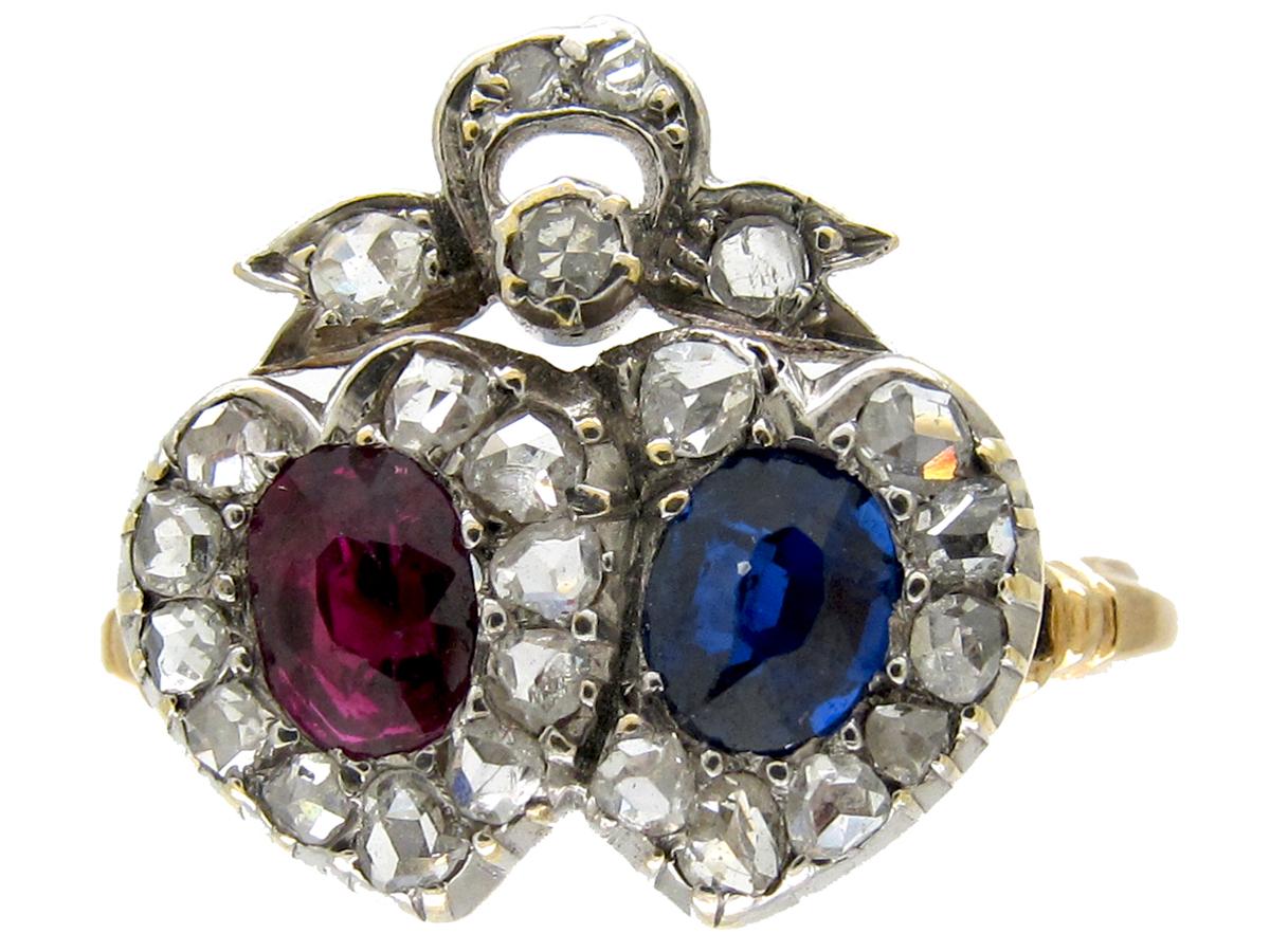 Double Heart Sapphire, Ruby & Diamond Ring