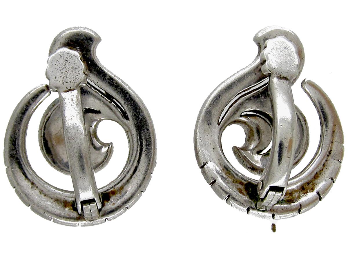 Silver Clip on Paste Art Deco Earrings