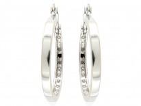 Diamond 18ct White Gold Hoop Earrings