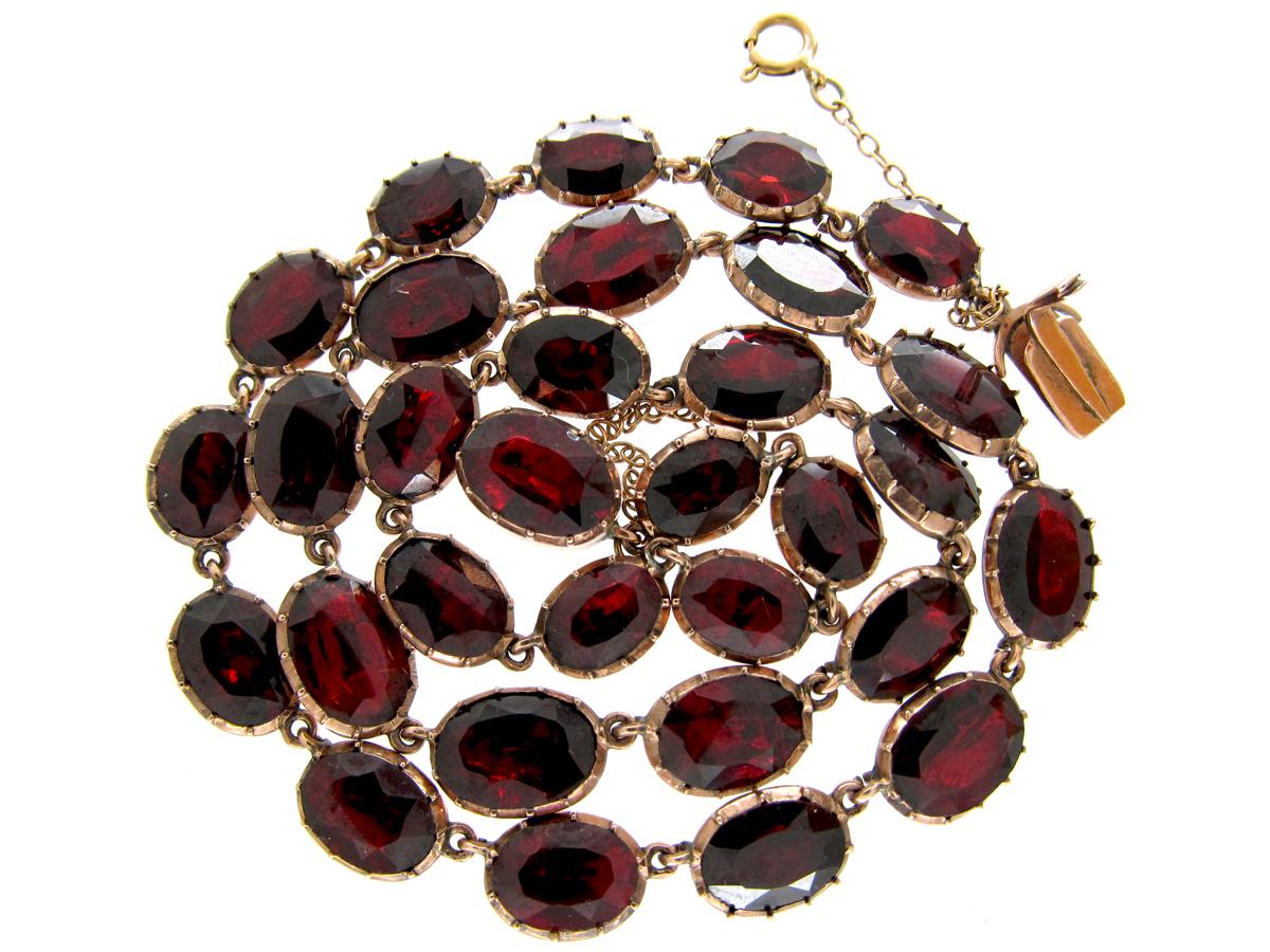 Georgian Flat Cut Garnet Necklace