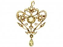 Art Nouveau 15ct Gold, Citrine & Natural Split Pearls Floral Pendant