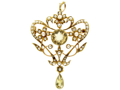 Art Nouveau 15ct Gold, Citrine & Natural Split Pearls Floral Pendant