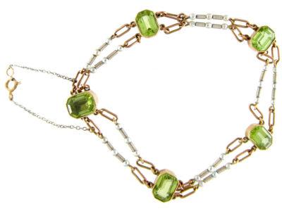 Peridot & Pearl Platinum 15ct Gold Bracelet