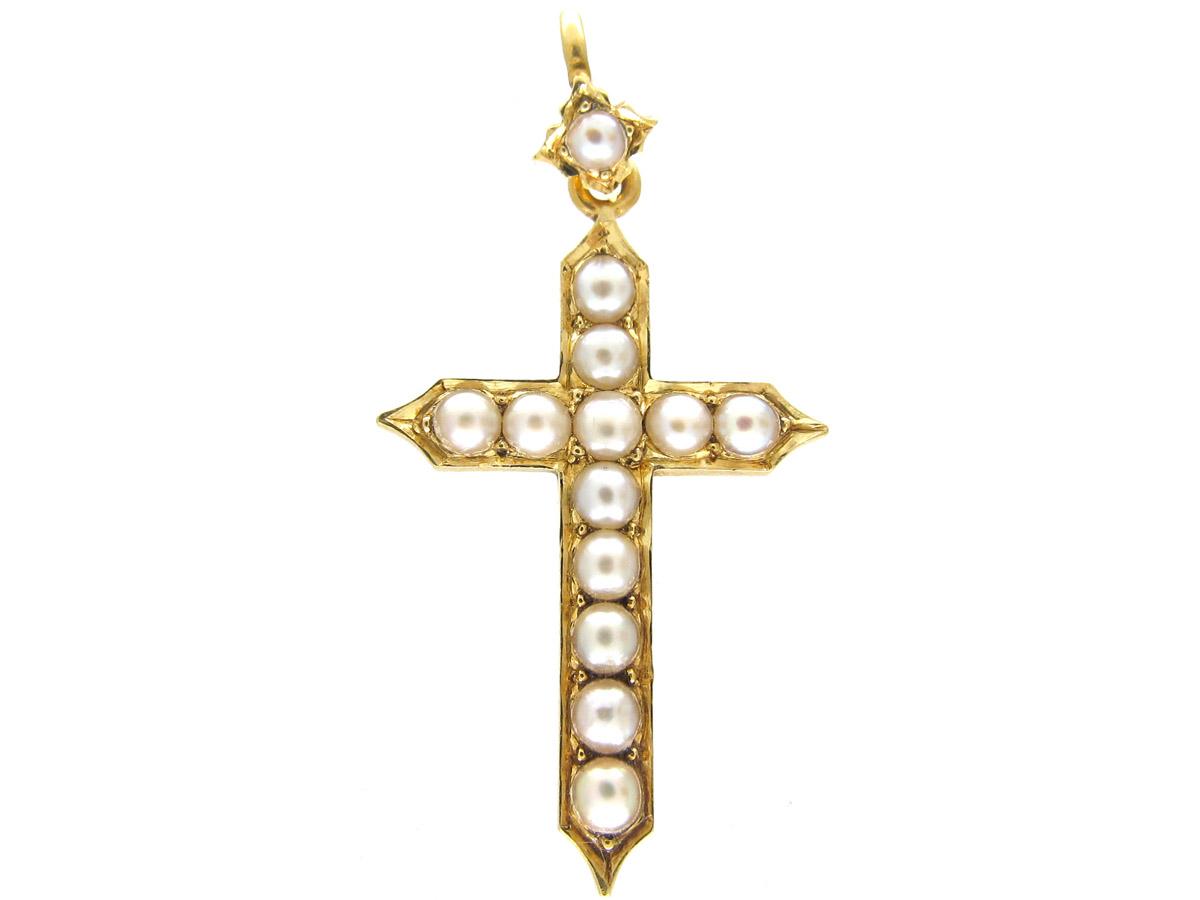 15ct Gold & Natural Split Pearl Cross