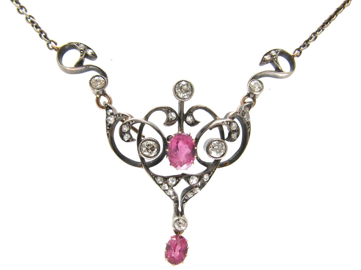 Edwardian Pink Topaz & Diamond Necklace
