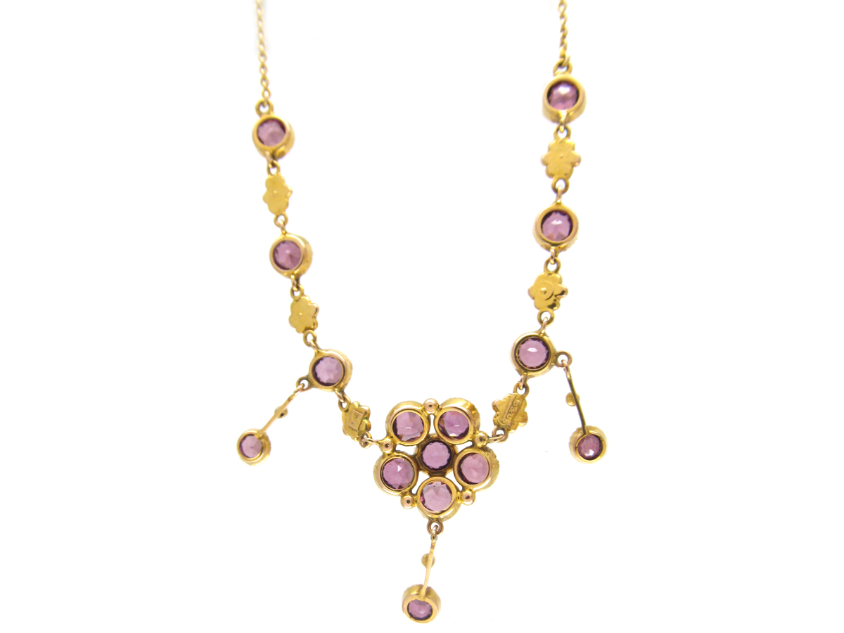 Murrle Bennett 9ct Gold & Garnet & Natural Split Pearls Necklace