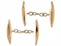 9ct Gold Long Oval Faceted Cufflinks