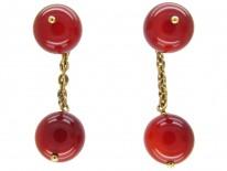 Carnelian Bead 18ct Gold Cufflinks