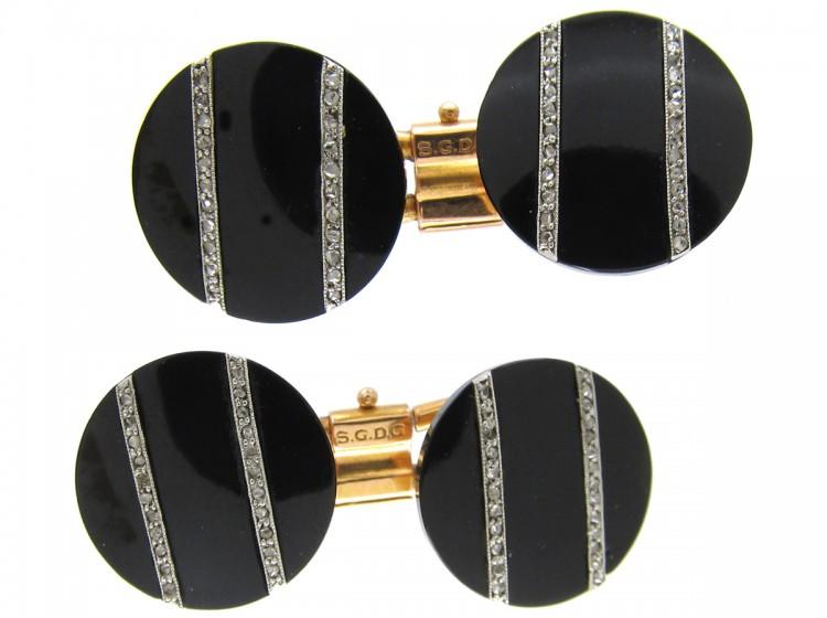 Art Deco Platinum & 18ct Gold, Onyx & Rose Diamond Cufflinks