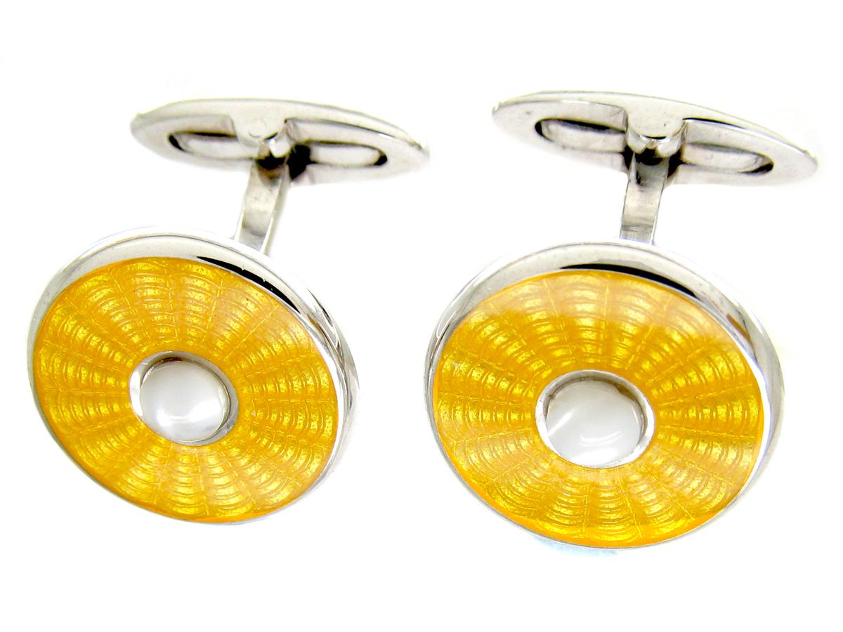 Silver & Yellow Enamel Cufflinks