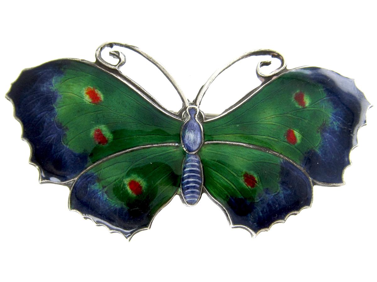 Green & Blue Enamel Butterfly Brooch