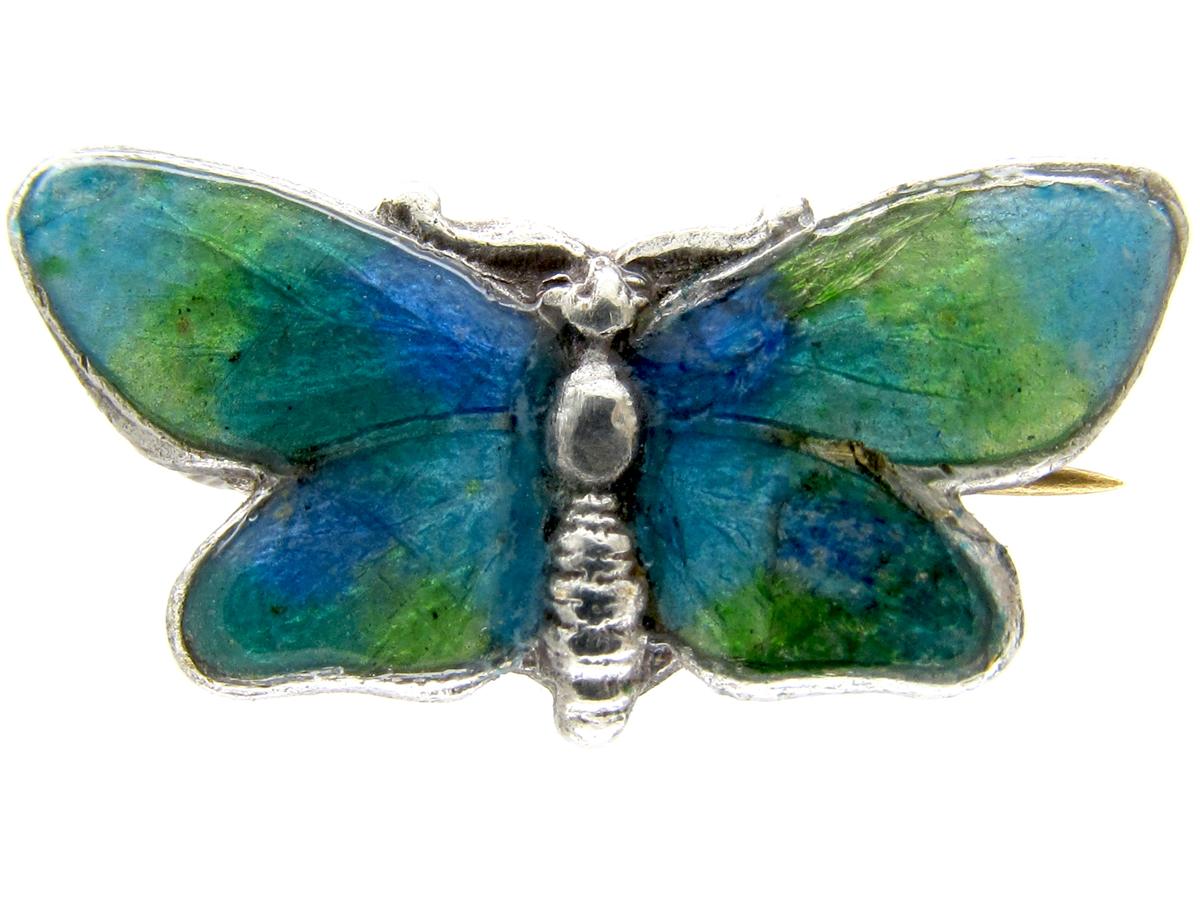 Mini Silver & Enamel Butterfly Brooch