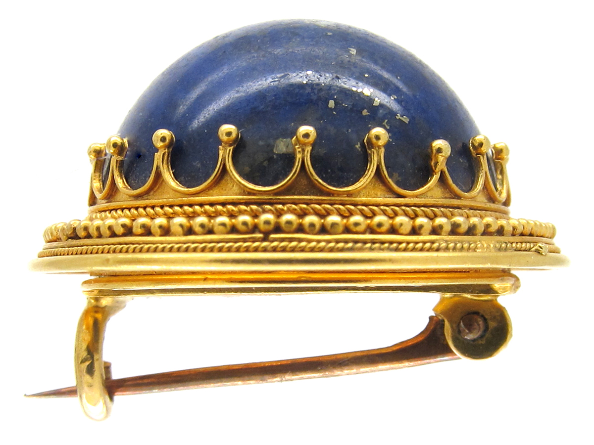 Victorian 18ct Gold Lapis Brooch