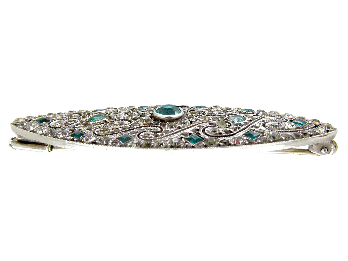 Art Deco Silver & Paste Brooch