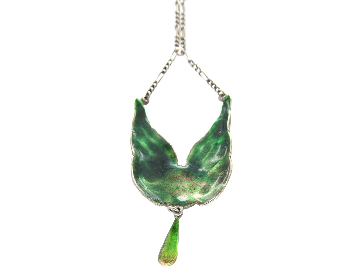 Art Nouveau Silver & Enamel Wings Pendant