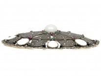 Large Silver Marcasite, Emerald & Ruby Art Deco Brooch Pendant