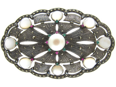 Large Silver Marcasite, Emerald & Ruby Art Deco Brooch Pendant