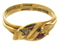 Edwardian Ruby & Diamond Double Snake Ring