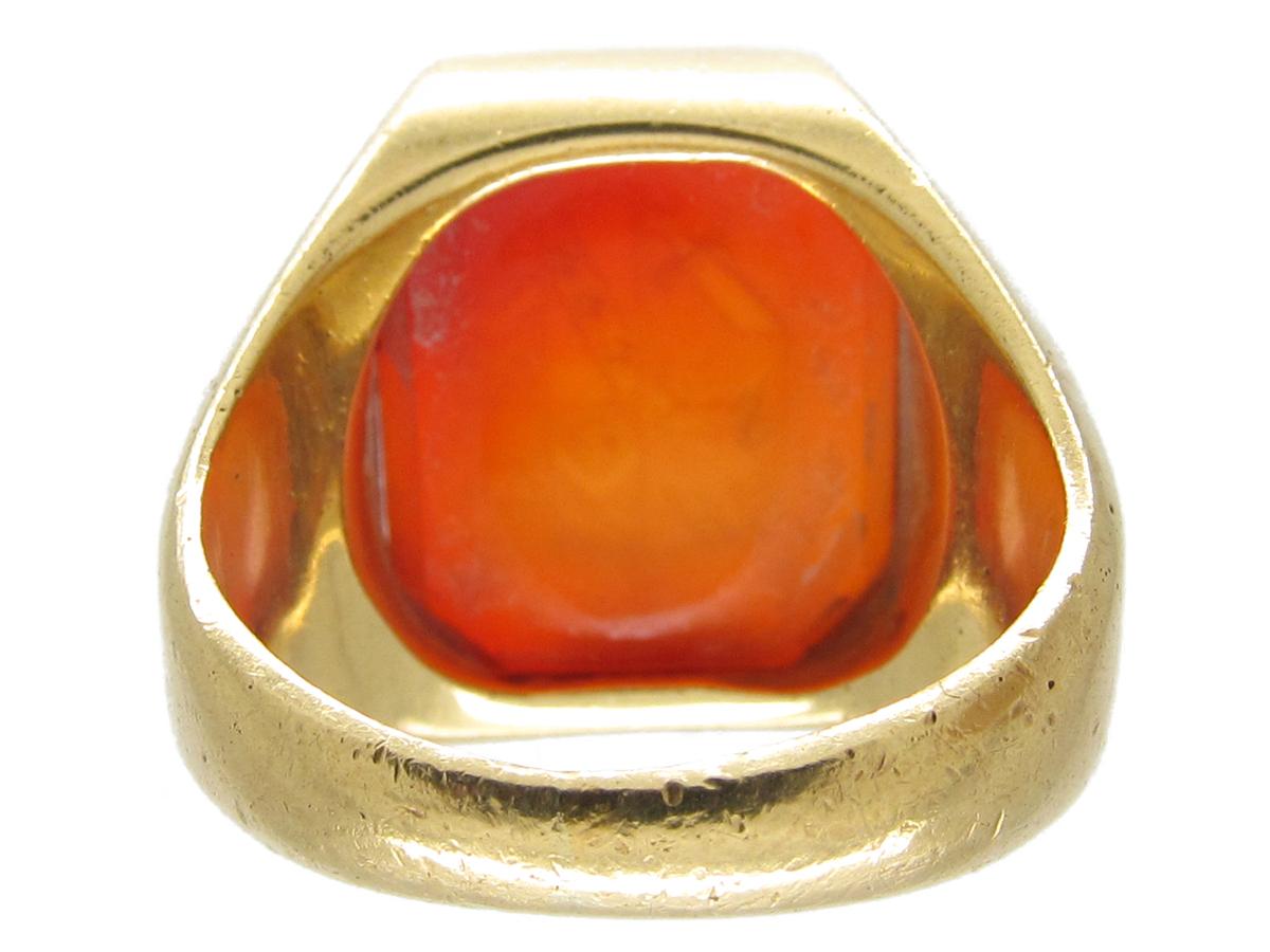 Large 18ct Gold Carnelian Signet Ring