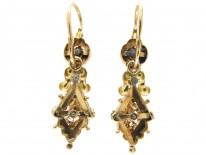 Georgian Rose Diamond Gold Earrings