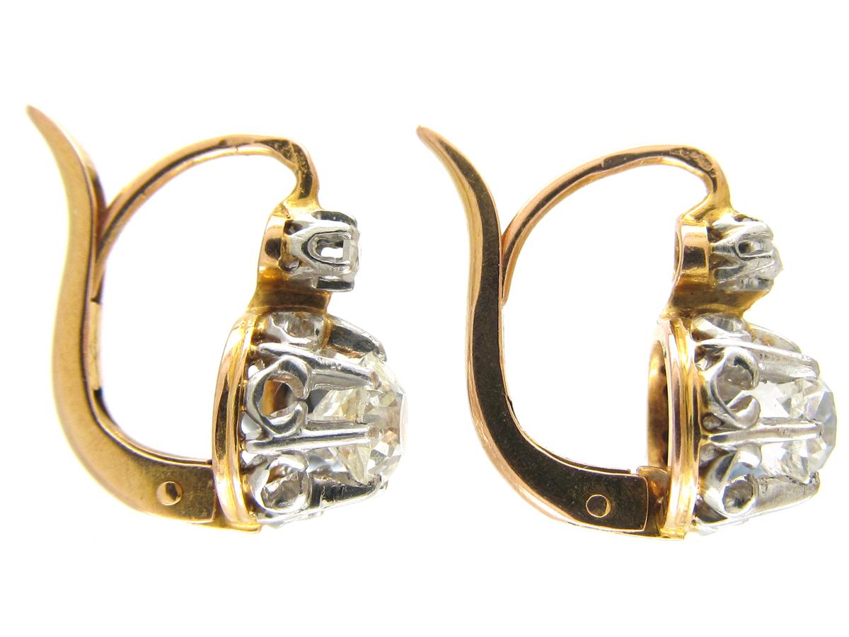 Diamond Drop 18ct Gold Earrings