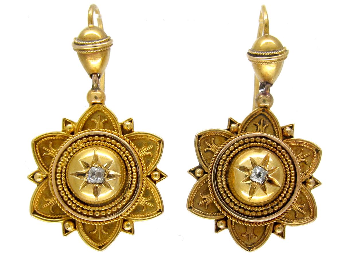 Victorian 15ct Gold Diamond Set Earrings