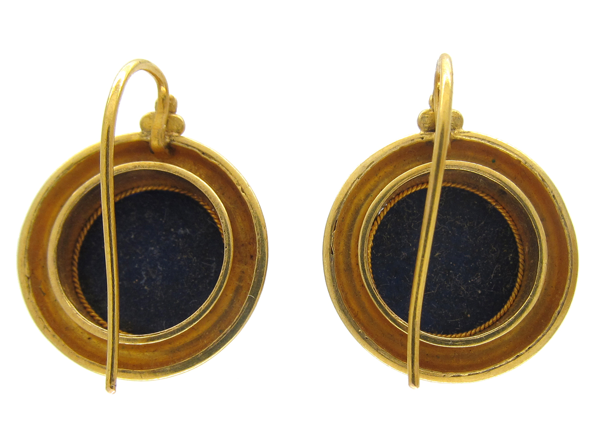 Victorian 18ct Gold & Lapis Lazuli Earrings