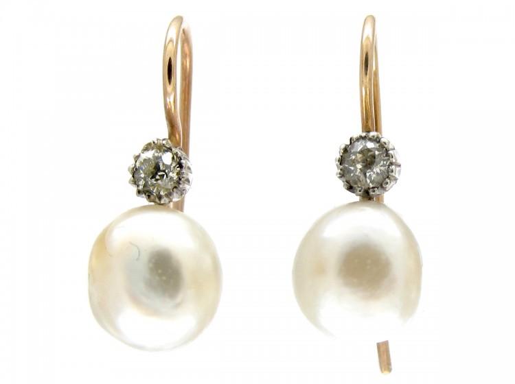 Natural Pearl & Diamond Earrings