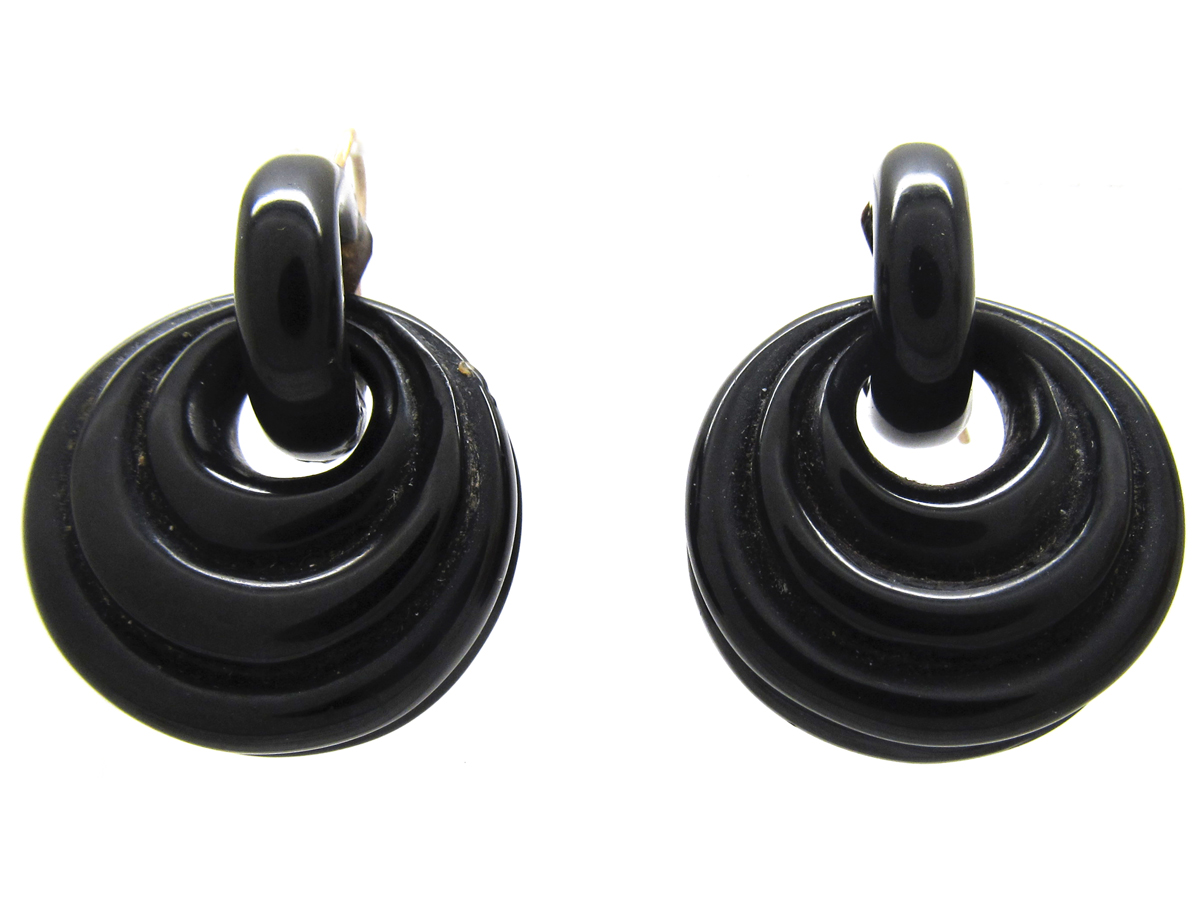 Victorian Jet Hoop Earrings