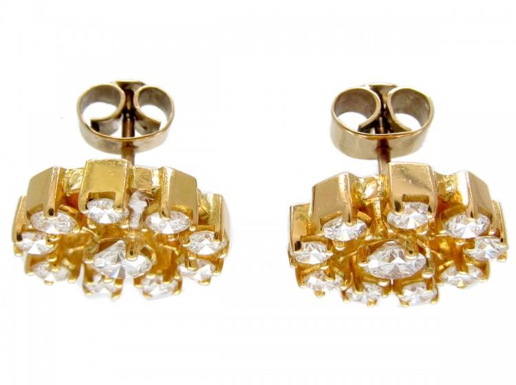 Diamond 18ct Gold Wheel Earrings