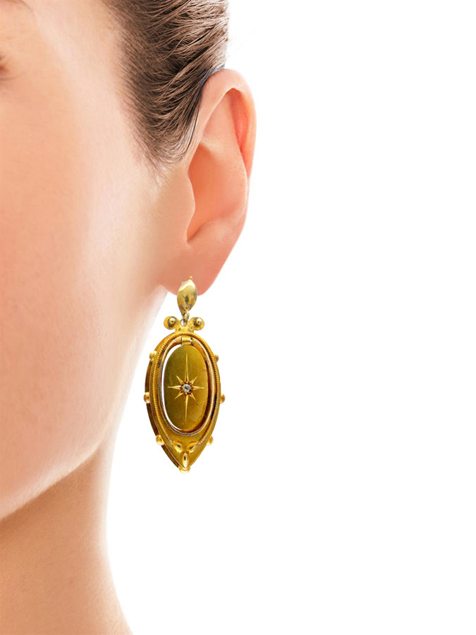 Victorian 15ct Gold Drop Earrings set with Diamonds