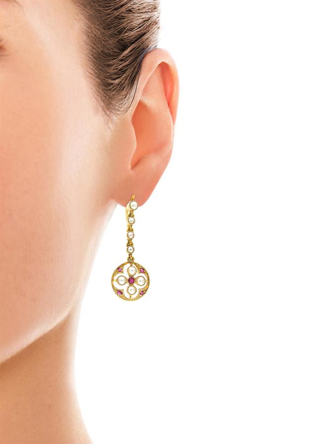 15ct Gold Ruby & Pearl Edwardian Earrings