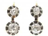 Two Stone Diamond Drop Earrings