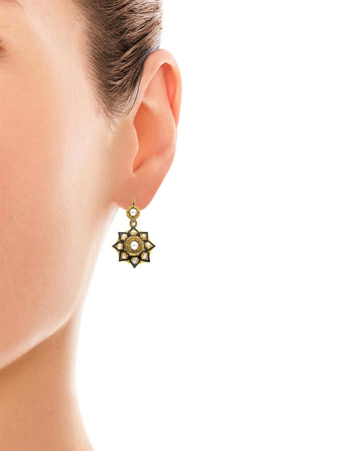 Victorian 15ct Gold Pearl & Enamel Earrings