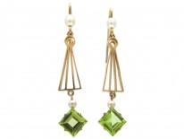 Peridot & Pearl Drop Earrings