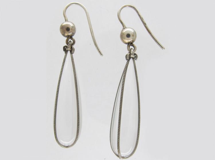 Rock Crystal & Silver Drop Earrings