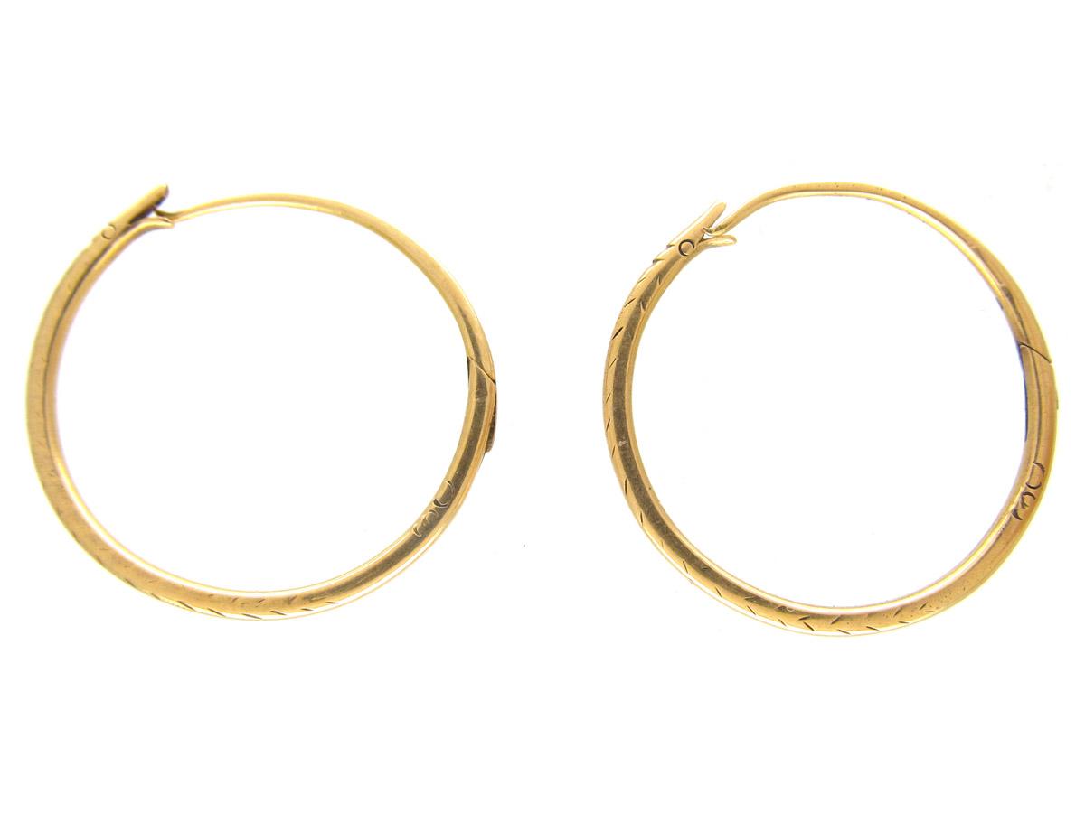 Georgian 18ct Gold Hoop Snake Earrings
