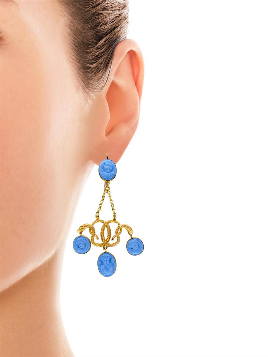 Georgian 18ct Gold Neo-Classical Drop Earrings