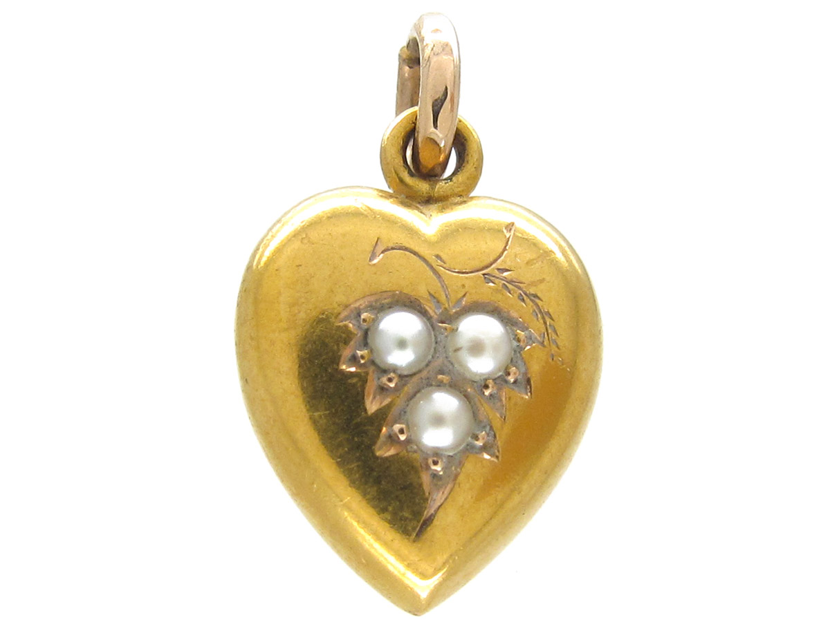15ct Gold Heart Pendant set with Natural Split Pearls
