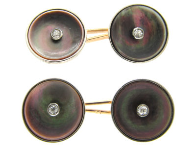 Swiss Art Deco 18ct Gold, Black Mother of Pearl & Diamond Cufflinks