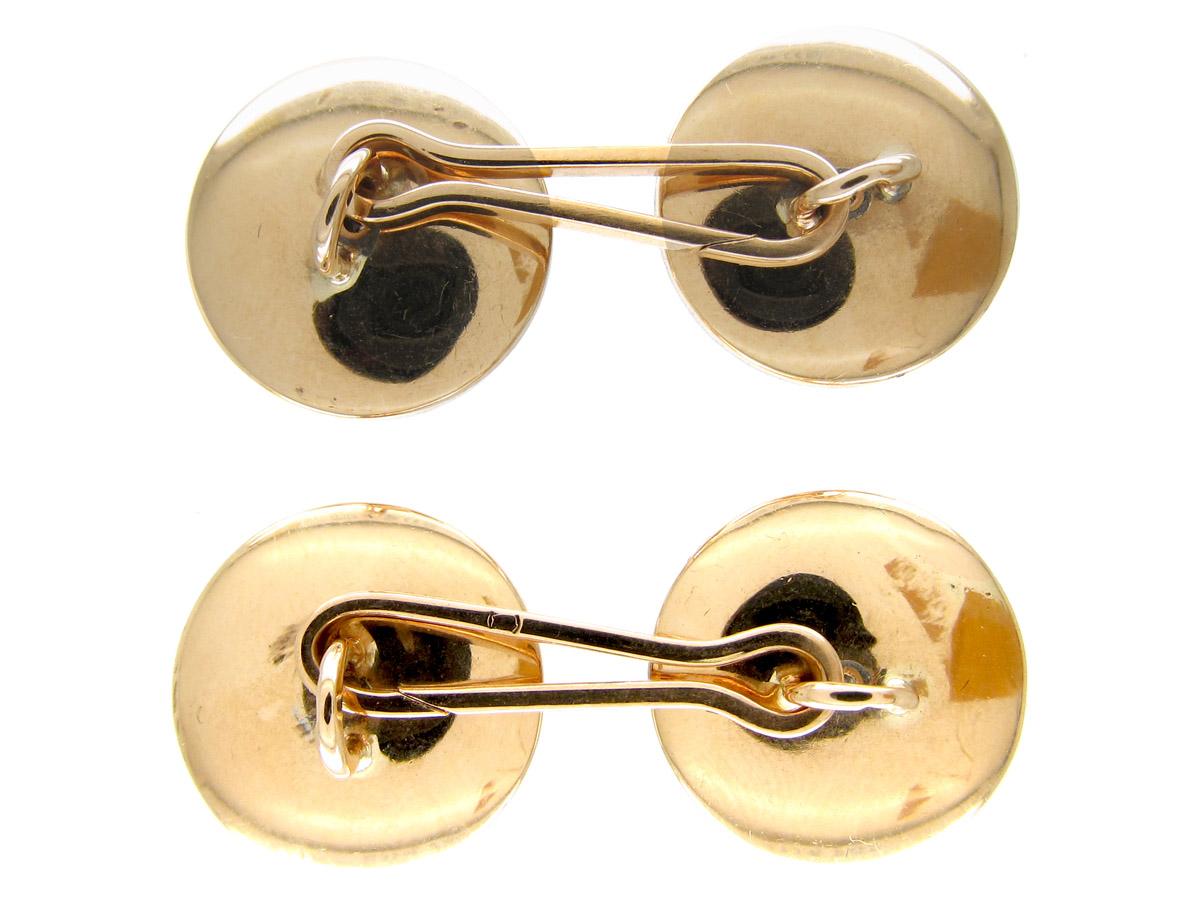Swiss Art Deco 18ct Gold, Black Mother of Pearl & Diamond Cufflinks