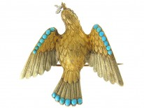Three Colour Gold & Turquoise Regency Dove Brooch