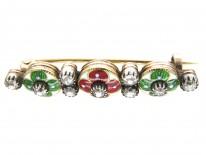 Suffragette Diamond & Enamel 18ct Gold Brooch