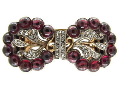 Cabochon Garnet & Diamond Art Deco Double Clip Brooch