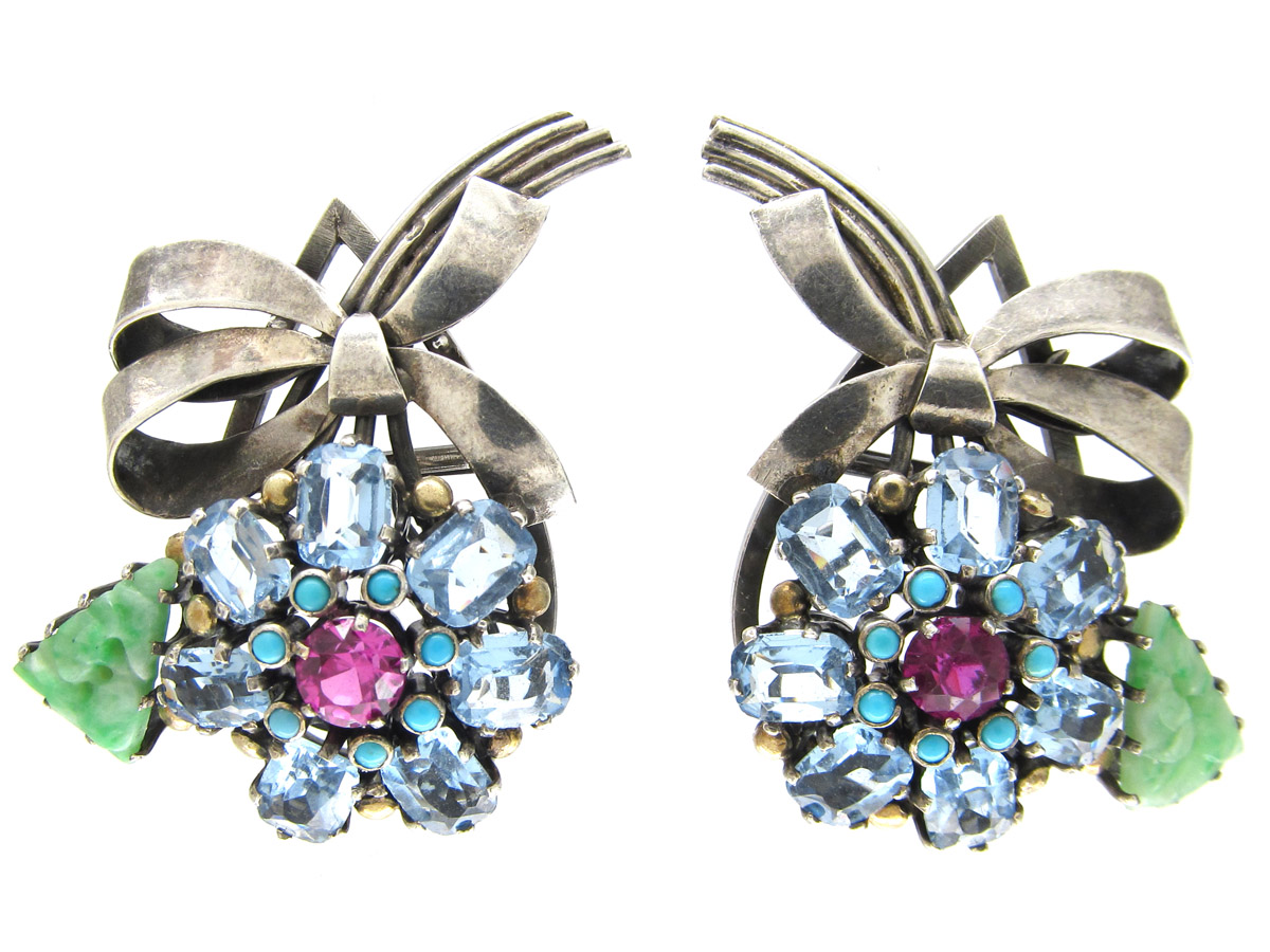 Pair of Silver Flower Clips by Dore Nossiter