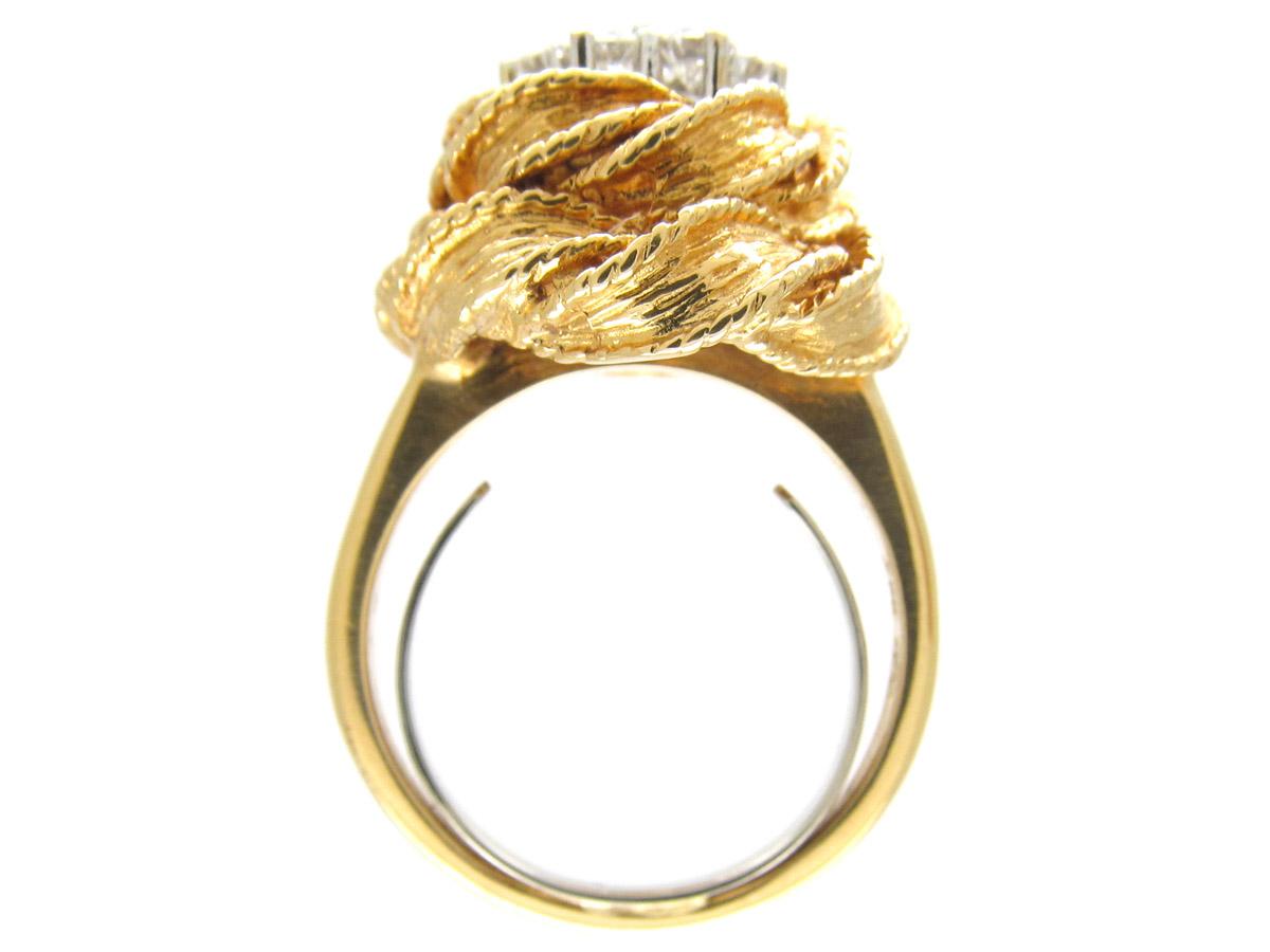 Diamond Cluster 18ct Gold Modernist Ring