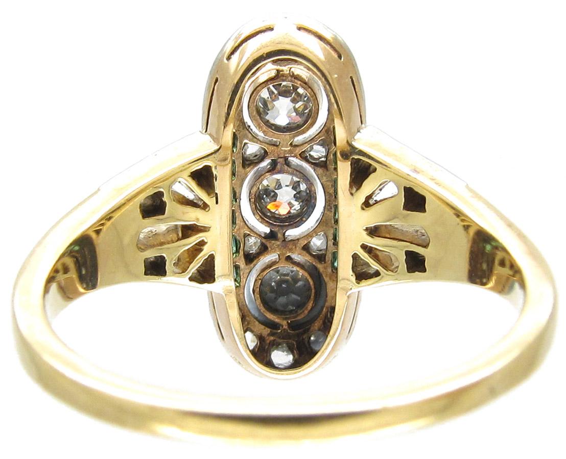 Emerald & Diamond Art Deco Ring
